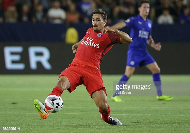 Benjamin Stambouli of Paris SaintGermain in action against Leicester City during the 2016 International Champions Cup at StubHub Center on July 30...