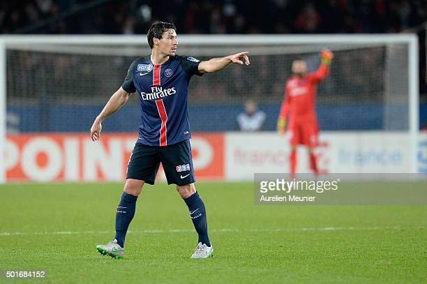 Benjamin Stambouli of Paris SaintGermain runs reacts during the French League Cup game between Paris SaintGermain and AS Saint Etienne at Parc des...