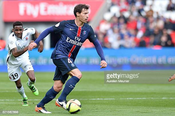 Benjamin Stambouli of Paris SaintGermain runs with the ball during the Ligue 1 game between Paris SaintGermain and SM Caen at Parc des Princes on...