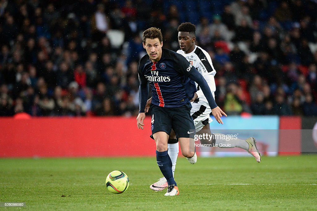 Benjamin STAMBOULI of PSG during the French Ligue 1 match between Paris Saint Germain PSG and Stade Rennais at Parc des Princes on April 29, 2016 in Paris, France.