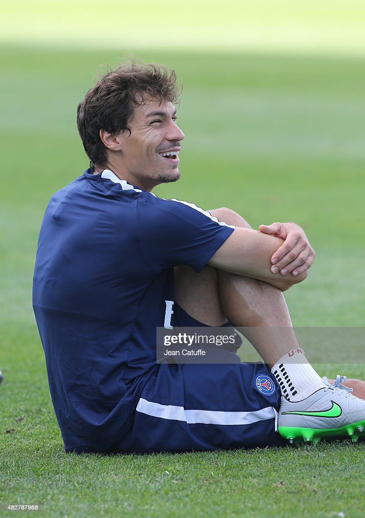 <a gi-track='captionPersonalityLinkClicked' href=/galleries/search?phrase=Benjamin+Stambouli&family=editorial&specificpeople=7133311 ng-click='$event.stopPropagation()'>Benjamin Stambouli</a> of PSG looks on during Paris Saint-Germain training session on the eve of the 2015 Trophee des Champions between Paris Saint-Germain (PSG) and Olympique Lyonnais (OL) at Stade Saputo on July 31, 2015 in Montreal, Quebec, Canada.