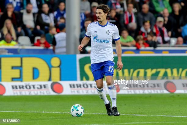 Benjamin Stambouli of Schalke controls the ball during the Bundesliga match between SportClub Freiburg and FC Schalke 04 at SchwarzwaldStadion on...