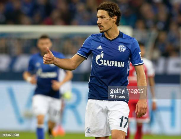 Benjamin Stambouli of Schalke gestures during the Bundesliga match between FC Schalke 04 and 1 FSV Mainz 05 at VeltinsArena on October 20 2017 in...