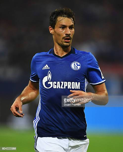 Benjamin Stambouli of Schalke in action during the Bundesliga match between FC Schalke 04 and Bayern Muenchen at VeltinsArena on September 9 2016 in...