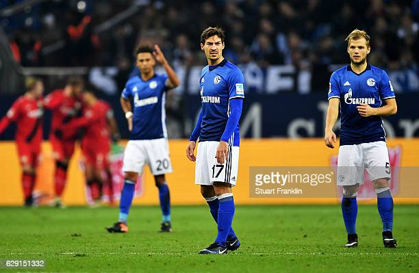 Benjamin Stambouli of Schalke looks dejected after the Bundesliga match between FC Schalke 04 and Bayer 04 Leverkusen at VeltinsArena on December 11...