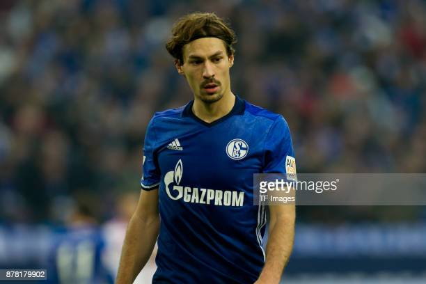 Benjamin Stambouli of Schalke looks on during the Bundesliga match between FC Schalke 04 and Hamburger SV at VeltinsArena on November 19 2017 in...