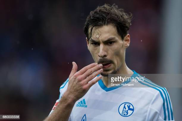 Benjamin Stambouli of Schalke reacts during the Bundesliga match between SC Freiburg and FC Schalke 04 at SchwarzwaldStadion on May 7 2017 in...