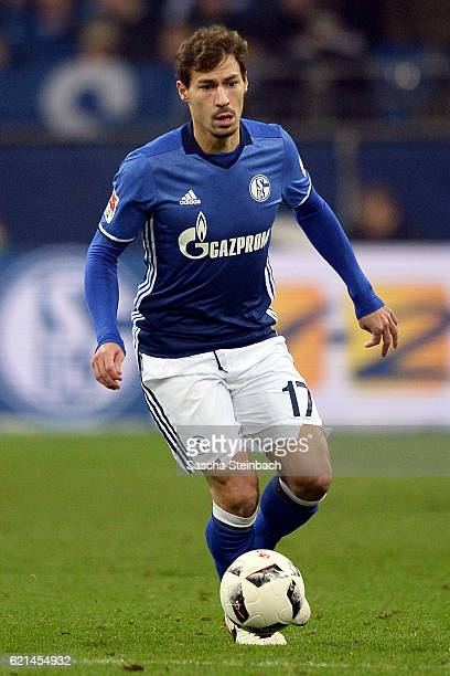 Benjamin Stambouli of Schalke runs with the ball during the Bundesliga match between FC Schalke 04 and Werder Bremen at VeltinsArena on November 6...