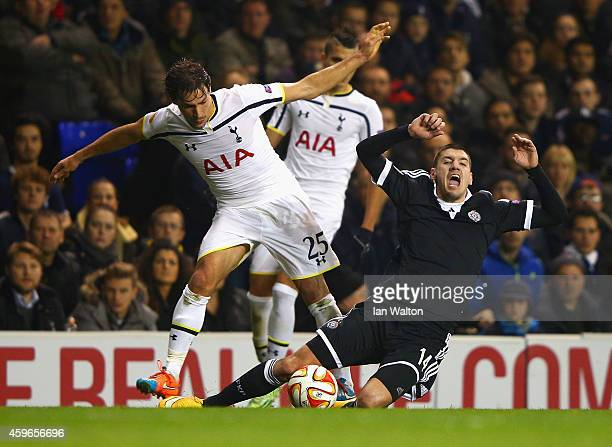 Benjamin Stambouli of Spurs tackles Petar Grbic of Partizan Belgrade during the UEFA Europa League group C match between Tottenham Hotspur FC and FK...