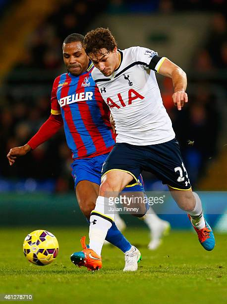 Benjamin Stambouli of Spurs takes on Jason Puncheon of Crystal Palace during the Barclays Premier League match between Crystal Palace and Tottenham...