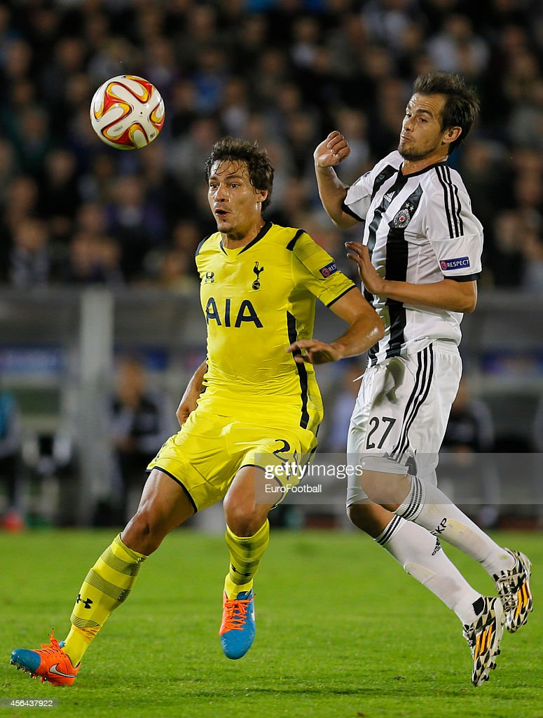 <a gi-track='captionPersonalityLinkClicked' href=/galleries/search?phrase=Benjamin+Stambouli&family=editorial&specificpeople=7133311 ng-click='$event.stopPropagation()'>Benjamin Stambouli</a> of Tottenham Hotspur (L) is tackled by <a gi-track='captionPersonalityLinkClicked' href=/galleries/search?phrase=Danko+Lazovic&family=editorial&specificpeople=2219062 ng-click='$event.stopPropagation()'>Danko Lazovic</a> of FK Partizan during the UEFA Europa League match between FK Partizan and Tottenham Hotspur FC on September 18, 2014 in Belgrade,Serbia.