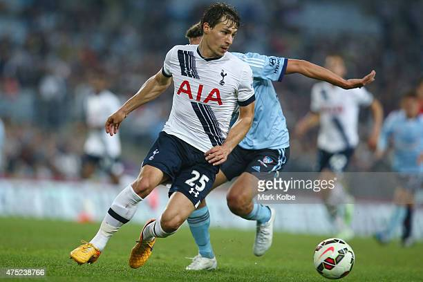 Benjamin Stambouli of Tottenham Hotspur runs with the ball during the international friendly match between Sydney FC and Tottenham Spurs at ANZ...