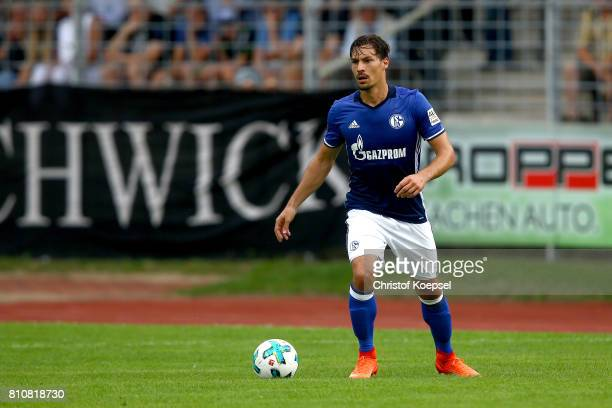 Benjamin Stamboulim of Schalke runs with the ball during the preseason friendly match between SpVgg Erkenschwick and FC Schalke 04 at Stimberg...