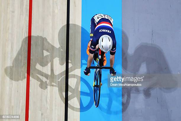 Benjamin Thomas of France competes in the Men's Omnium Points Race 44 during the Tissot UCI Track Cycling World Cup 20162017 held at the sport centre...