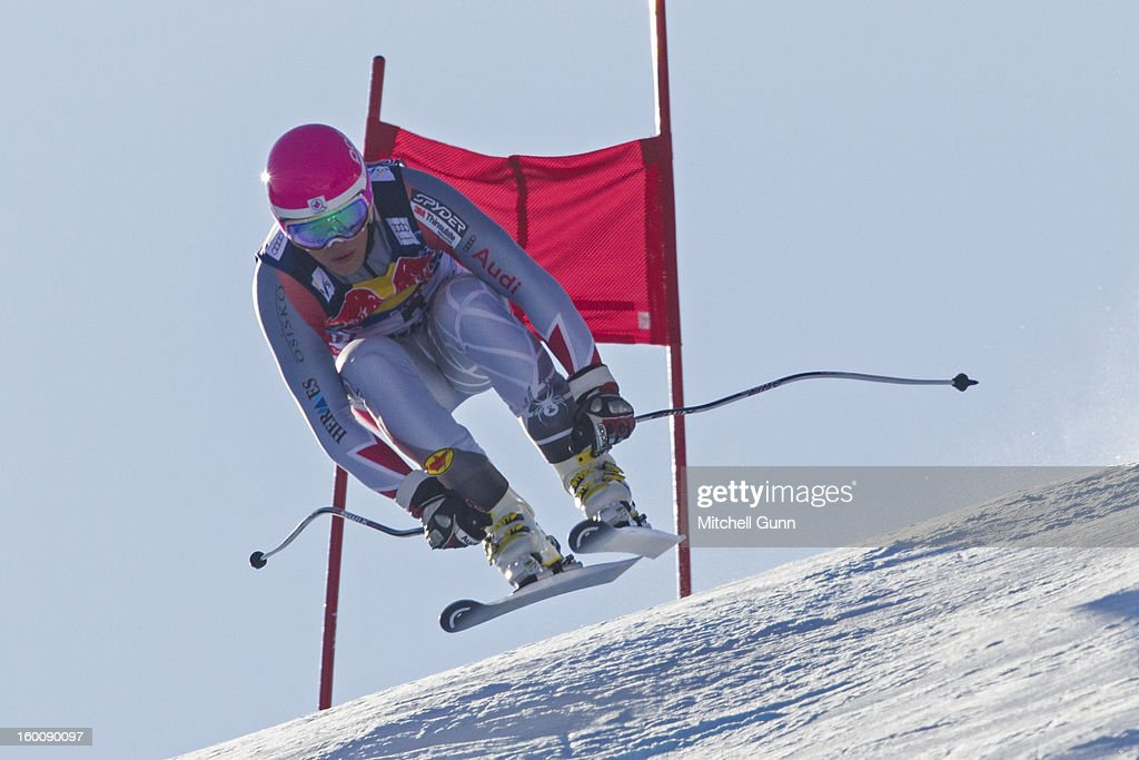 Benjamin Thomsen of Canada races down the Hahnenkamm course during the Audi FIS Alpine Ski World Cup Downhill on January 26, 2013 in Kitzbuhel, Austria,