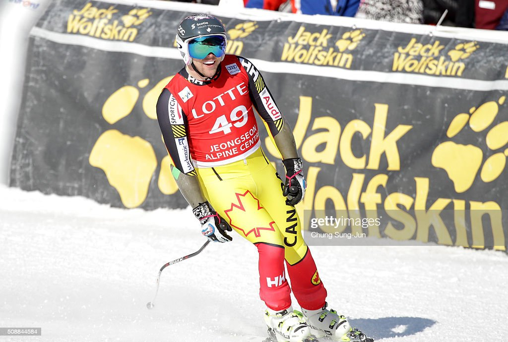 <a gi-track='captionPersonalityLinkClicked' href=/galleries/search?phrase=Benjamin+Thomsen&family=editorial&specificpeople=7372995 ng-click='$event.stopPropagation()'>Benjamin Thomsen</a> of Canada reacts during the Men's Super G Finals during the 2016 Audi FIS Ski World Cup at the Jeongseon Alpine Centre on February 7, 2016 in Jeongseon-gun, South Korea.