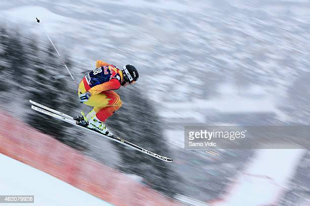Benjamin Thomsen of Canada takes 17th place during the Audi FIS Alpine Ski World Cup Men's Downhill on January 24 2015 in Kitzbuehel Austria