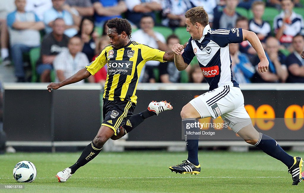 Benjamin Totori of the Wellington Phoenix kicks the ball during the round 15 A-League match between the Melbourne Victory and Wellington Phoenix at AAMI Park on January 5, 2013 in Melbourne, Australia.