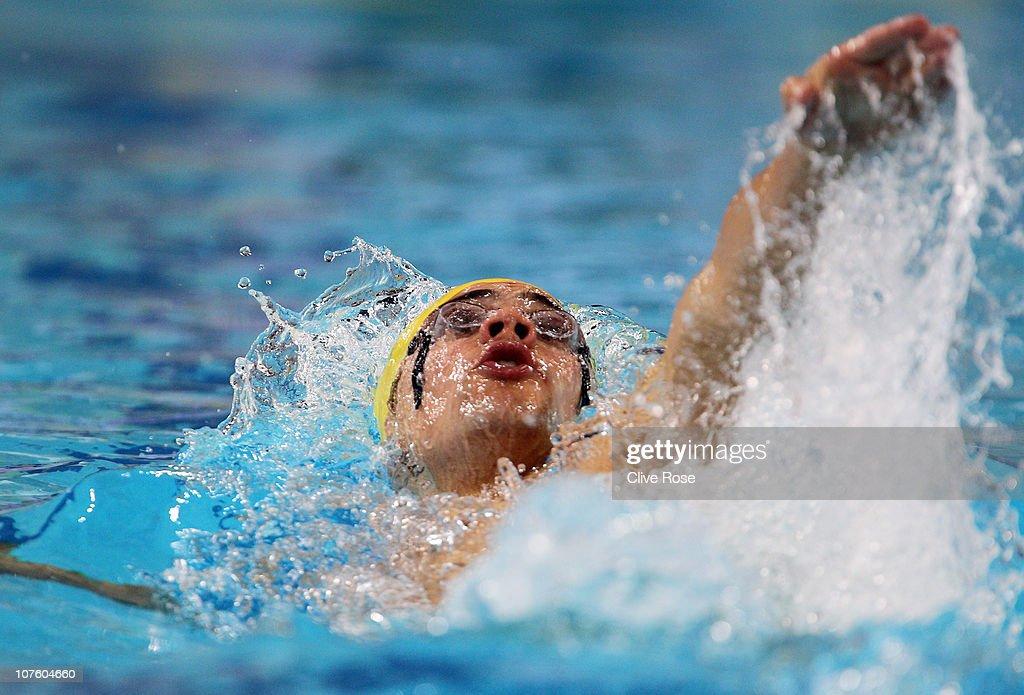 Benjamin Treffers of Australia competes in the Men's 100m Backstroke heats during day one of the 10th FINA World Swimming Championships (25m) at the Hamdan bin Mohammed bin Rashid Sports Complex on December 15, 2010 in Dubai, United Arab Emirates.