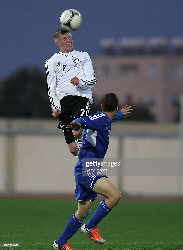 Benjamin Truemner of Germany jumps for a header during the international friendly match between U18 Cyprus and U18 Germany at Stadio Tasos Markou on February 5, 2013 in Paralimni, Cyprus.
