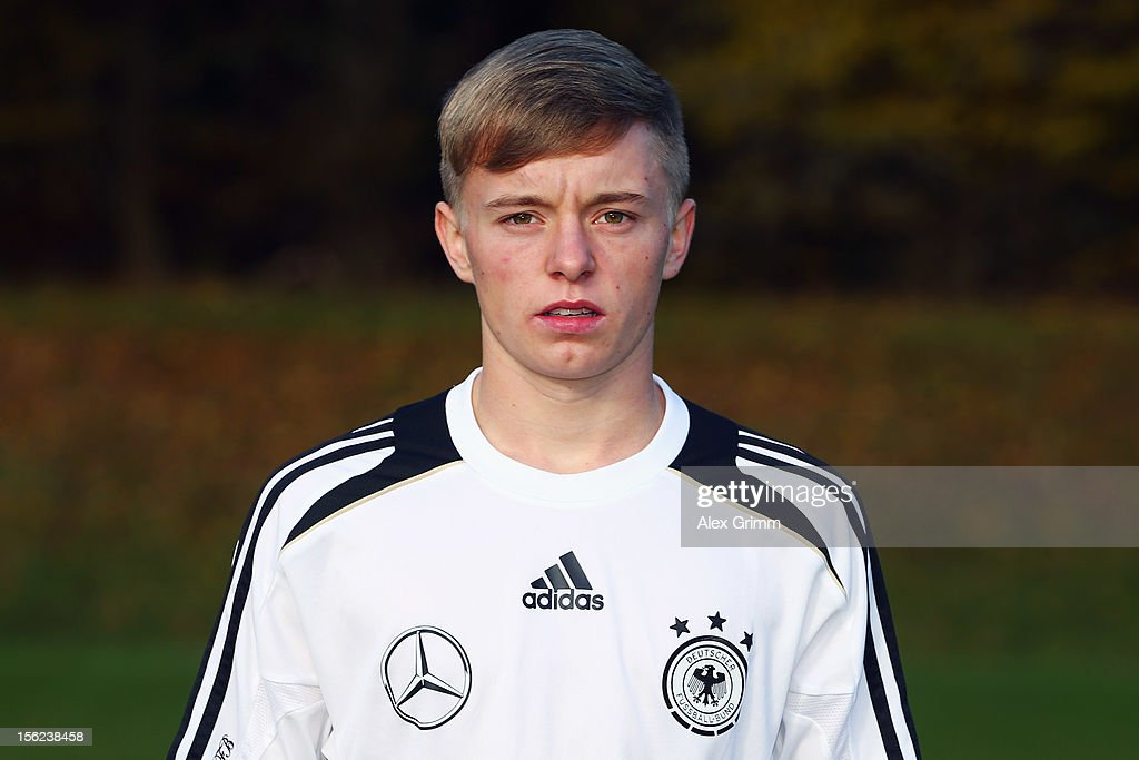 Benjamin Truemner poses during the Germany U18 team presentation at Commerzbank Arena on November 12, 2012 in Frankfurt am Main, Germany.