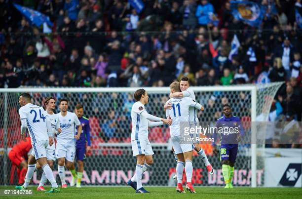Benjamin Verbic and Andreas Cornelius of FC Copenhagen celebrate after scoring their first goal during the Danish Alka Superliga match between FC...
