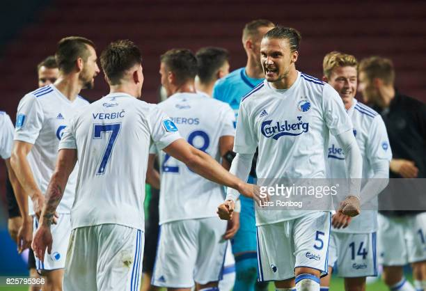 Benjamin Verbic and Erik Johansson of FC Copenhagen celebrate after the UEFA Champions League Qualification 3rd round 2th leg match between FC...