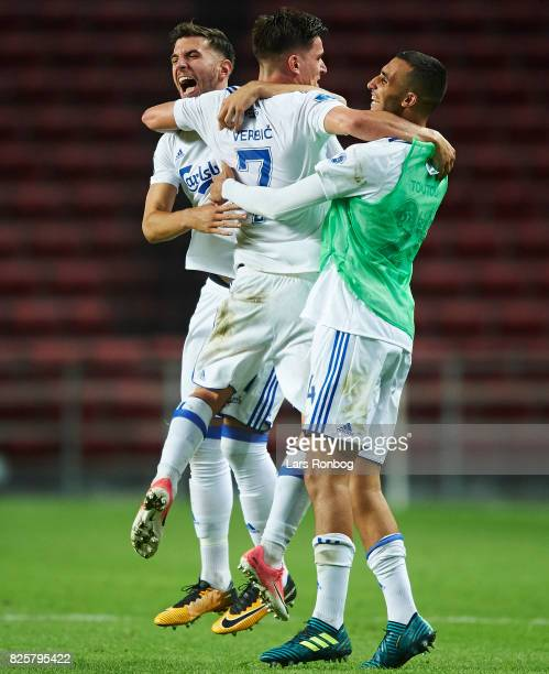 Benjamin Verbic Andrija Pavlovic and Youssef Toutouh of FC Copenhagen celebrate during the UEFA Champions League Qualification 3rd round 2th leg...