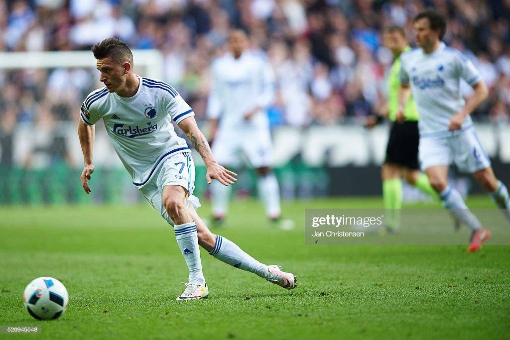 Benjamin Verbic of FC Copenhagen $af$ the Danish Alka Superliga match between FC Copenhagen and FC Midtjylland at Telia Parken Stadium on May 01, 2016 in Copenhagen, Denmark.