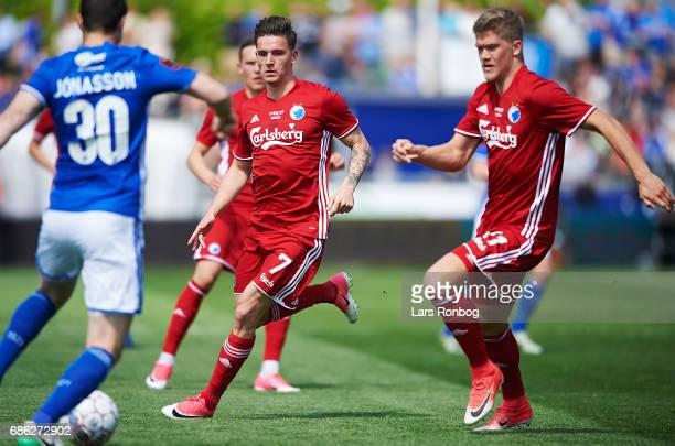 Benjamin Verbic of FC Copenhagen and Andreas Cornelius of FC Copenhagen in action during the Danish Alka Superliga match between Lyngby BK and FC...
