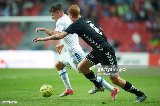 Benjamin Verbic of FC Copenhagen and Bjarke Jacobsen of AC Horsens compete for the ball during the Danish Alka Superliga match between FC Copenhagen...