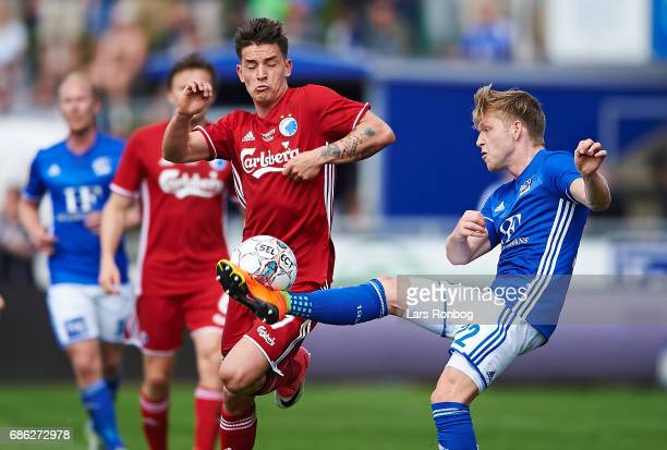 Benjamin Verbic of FC Copenhagen and Bror Blume of Lyngby BK compete for the ball during the Danish Alka Superliga match between Lyngby BK and FC...