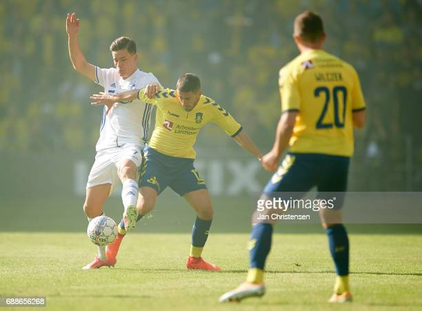 Benjamin Verbic of FC Copenhagen and Frederik Holst of Brondby IF compete for the ball during the Danish Cup Final DBU Pokalen match between FC...