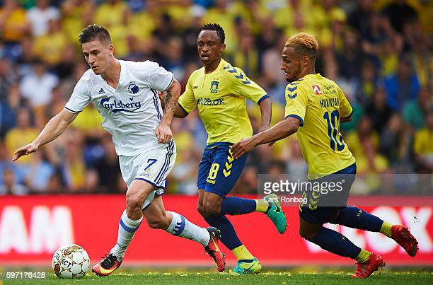 Benjamin Verbic of FC Copenhagen and Hany Mukhtar of Brondby IF compete for the ball during the Danish Alka Superliga match between Brondby IF and FC...