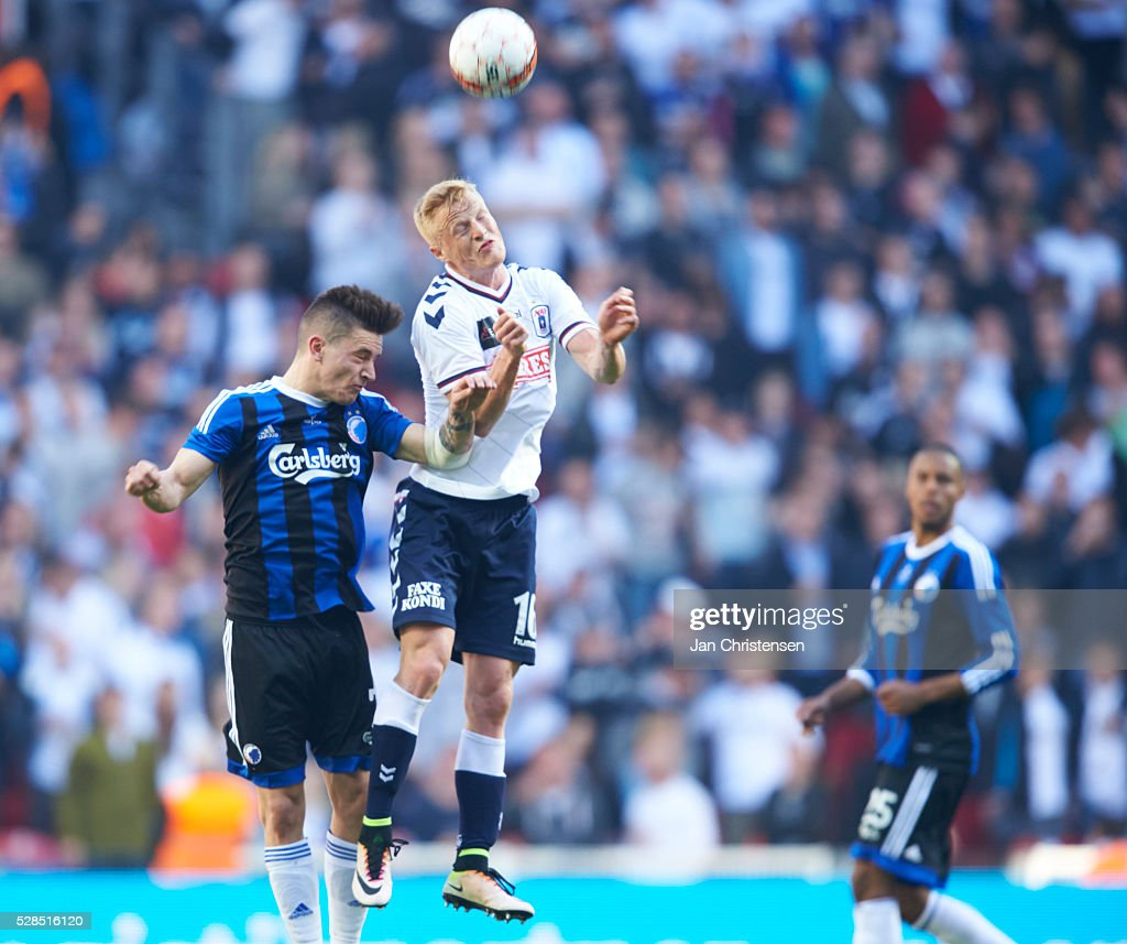 Benjamin Verbic of FC Copenhagen and Jens Jonsson of AGF Arhus heading the ball during the DBU Pokalen Cup Final match between AGF Arhus and FC Copenhagen at Telia Parken Stadium on May 05, 2016 in Copenhagen, Denmark.