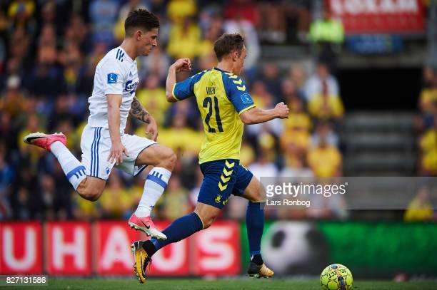 Benjamin Verbic of FC Copenhagen and Lasse Vigen Christensen of Brondby IF compete for the ball during the Danish Alka Superliga match between...