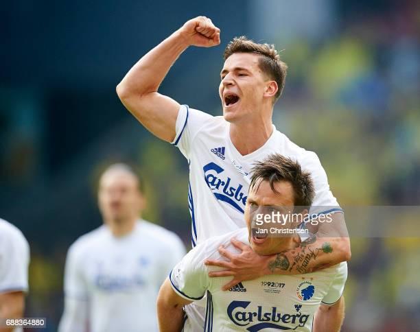 Benjamin Verbic of FC Copenhagen and William Kvist of FC Copenhagen celebrate after the Danish Cup Final DBU Pokalen match between FC Copenhagen and...