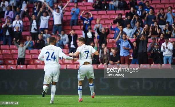 Benjamin Verbic of FC Copenhagen celebrates after scoring their first goal during the UEFA Champions League Qualification match between FC Copenhagen...