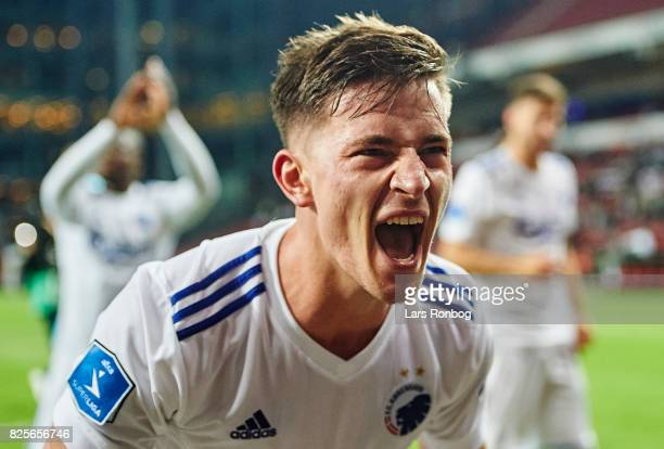 Benjamin Verbic of FC Copenhagen celebrates after scoring their fourth goal during the UEFA Champions League Qualification 3rd round 2th leg match...