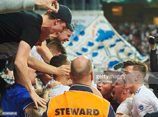 Benjamin Verbic of FC Copenhagen celebrates with fans after the 31 goal scored by Federico Santander during the UEFA Champions League Qualification...