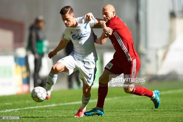 Benjamin Verbic of FC Copenhagen compete for the ball during the Danish Alka Superliga match between FC Copenhagen and Lyngby BK at Telia Parken...