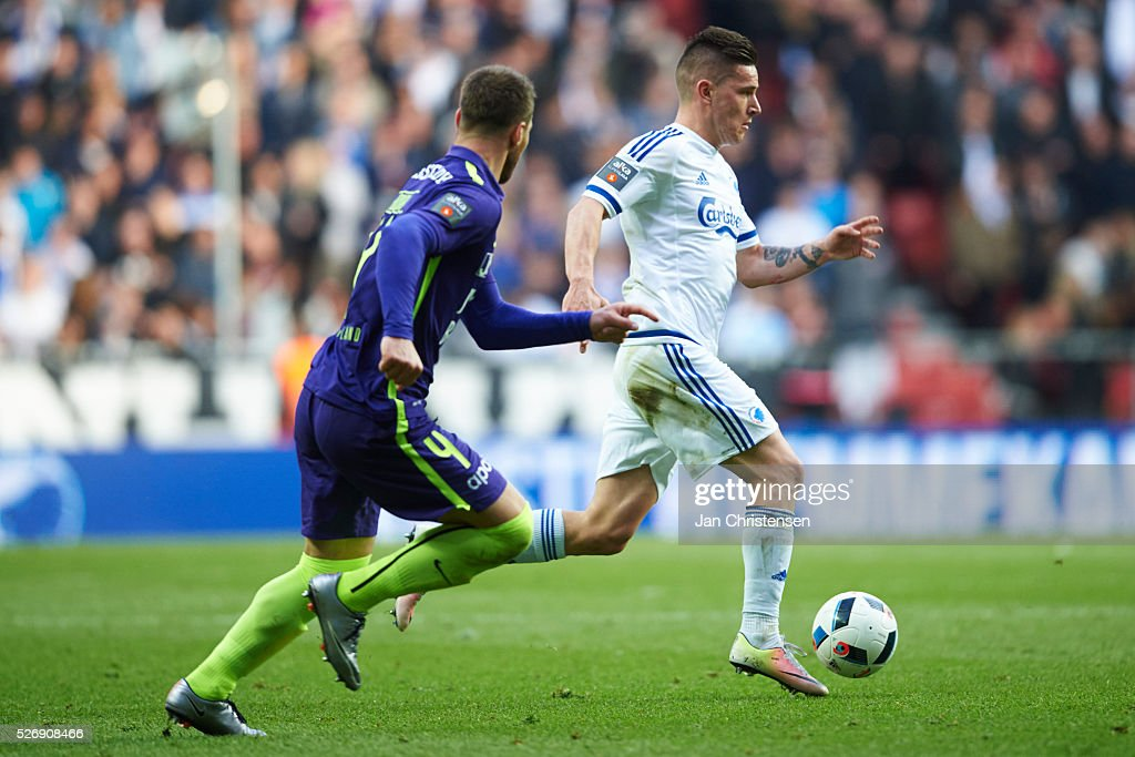 Benjamin Verbic of FC Copenhagen controls the ball during the Danish Alka Superliga match between FC Copenhagen and FC Midtjylland at Telia Parken Stadium on May 01, 2016 in Copenhagen, Denmark.