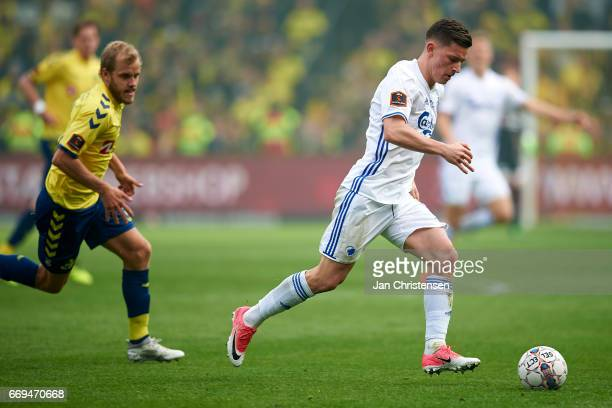 Benjamin Verbic of FC Copenhagen controls the ball during the Danish Alka Superliga match between Brondby IF and FC Midtjylland at Brondby Stadion on...