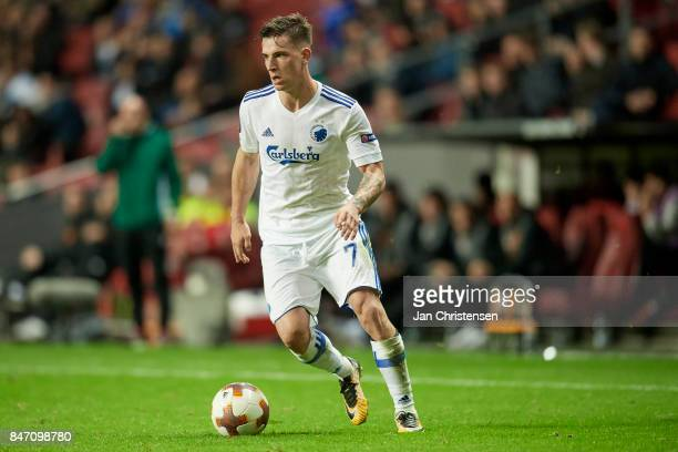 Benjamin Verbic of FC Copenhagen controls the ball during the UEFA Europa League Group Stage match between FC Copenhagen and Lokomotiv Moskva at...