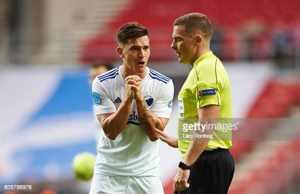 Benjamin Verbic of FC Copenhagen gestures in front of Referee John Beaton during the UEFA Champions League Qualification 3rd round 2th leg match...