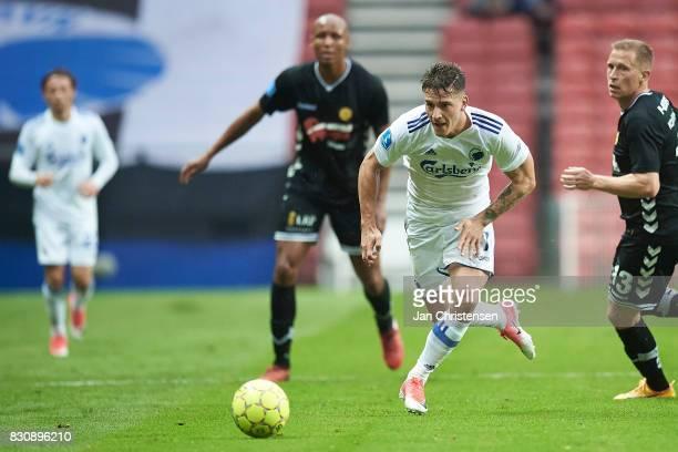 Benjamin Verbic of FC Copenhagen in action during the Danish Alka Superliga match between FC Copenhagen and AC Horsens at Telia Parken Stadium on...