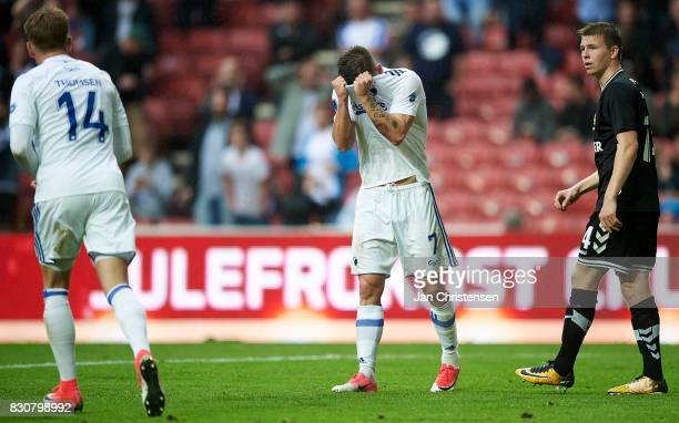 Benjamin Verbic of FC Copenhagen looks dejected after a missed goal during the Danish Alka Superliga match between FC Copenhagen and AC Horsens at...