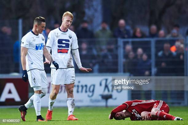 Benjamin Verbic of FC Copenhagen on the pitch injured after a tackle by Bjarke Jacobsen of Vendsyssel FF during the Danish cup DBU Pokalen semfinal...