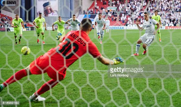 Benjamin Verbic of FC Copenhagen scores the 11 goal against Goalkeeper Ales Mandous of MSK Zilina during the UEFA Champions League Qualification...