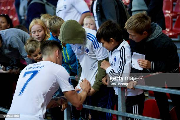 Benjamin Verbic of FC Copenhagen signing autographs for young fans after the Danish Alka Superliga match between FC Copenhagen and Sonderjyske at...